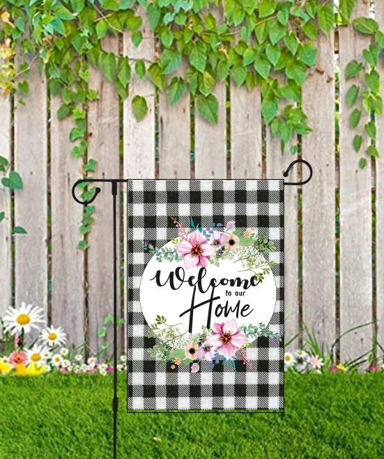 Welcome Home Buffalo Plaid Blk Lettering